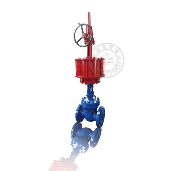 Z641H-16 气动法兰明杆楔式单闸板软密封铸铁(KTH300-06)闸阀